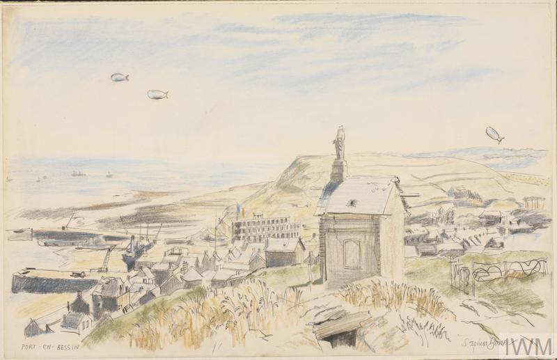 A view of Port en Bessin sketched in chalk by War Artist Stephen Bone © IWM Art.IWM ART LD 4388